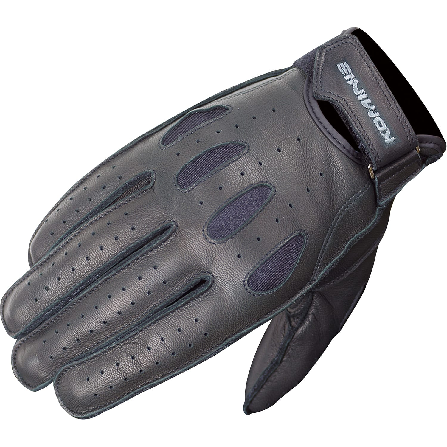 Short Summer Real Leather Motorbike Gloves Knuckle Shell Protection Black